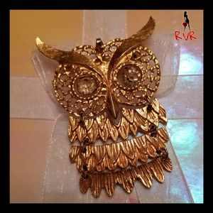 OWL WITH RHINESTONE EYES BROOCH PIN